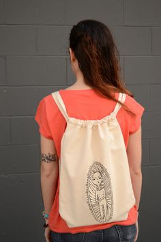 Canvas Drawstring Backpack with Print by EmilyBlaserMakes on Etsy, $32.00