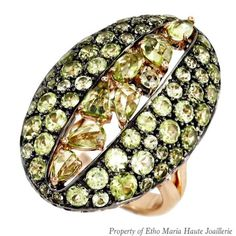 The Peridot River #Ring in Rose #Gold will light up your look. #EthoMaria #jewelry #fashion #style #green