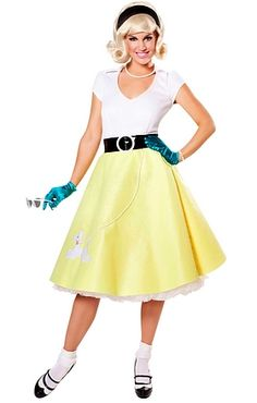 Sweet Costume includes: Top Felt Skirt with applique Belt. Wig, Jewelry, Gloves, Petticoat, socks and shoes are NOT included 1950s Costumes, 50s Skirt, 50s Rockabilly, Beatnik, Wigs, Greaser, Retro, Halloween, Womens Fashion