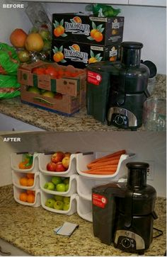 Simple organization is key to keeping in the juicing groove!forget the juicing.this is awesome ideal for keeping fruits and veggies organized on the counter. Juicer Recipes, Raw Food Recipes, Healthy Recipes, Cleanse Recipes, Ninja Recipes, Freezer Recipes, Blender Recipes, Freezer Cooking, Drink Recipes