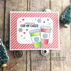 Sunny Studio Stamps: Mug Hugs Customer Card by Teri Anderson Christmas Cards 2018, Christmas And New Year, Christmas Themes, Friends Valentines Day, Sunnies Studios, Winter Coffee, Vintage Jars, Shaker Cards, Heart Cards