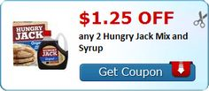 New Coupon!  $1.25 off any 2 Hungry Jack Mix and Syrup - http://www.stacyssavings.com/new-coupon-1-25-off-any-2-hungry-jack-mix-and-syrup/
