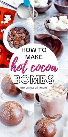 Hot Chocolate Gifts, Christmas Hot Chocolate, Chocolate Bomb, Homemade Hot Chocolate, Hot Chocolate Bars, Hot Chocolate Recipes, Chocolate Garnishes, Chocolate Deserts, Melted Chocolate