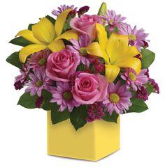 Order Spring Serenade Bouquet from MyFlorist, your local McLean florist. Send Spring Serenade Bouquet for fresh and fast flower delivery throughout McLean, VA area. Flowers For Mom, Flowers Today, Fresh Flowers, Yellow Flowers, Spring Flowers, Pink Roses, Easter Flowers, Fake Flowers, Beautiful Flower Arrangements