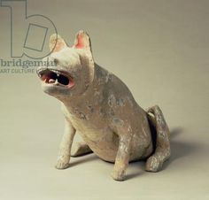 Early Chinese pottery seated dog, tomb artefact, Han Dynasty, 206 BC-220 AD (ceramic)