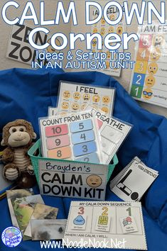 How to Make a Calm Down Corner in Your Classroom- Ideas, Printable Kits, Posters and Rules to set up a calm down area in your SpEd classroom or Autism Unit to help with behavior management and self-regulation. Learn more about the visuals, activities, and strategies work best when your students need to take a break!