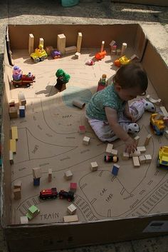 A great, inexpensive idea for little ones: small world play with a large cardboard box! Love this set up from The Imagination Tree! Craft Activities For Kids, Infant Activities, Projects For Kids, Diy For Kids, Thanksgiving Activities, Summer Activities, Kindergarten Thanksgiving, November Thanksgiving, Diy Projects