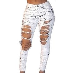 New Trending Denim: VICVIK Women White Knee Skinny Denim Distressed Ripped Jeans (M). VICVIK Women White Knee Skinny Denim Distressed Ripped Jeans (M)  Special Offer: $16.99  400 Reviews This skinny flare jeans for women used highly stretchable and soft denim fabricType:High Elastic Thin Denim;Pattern:Ripped Holes.The white jeans has a original hole design in the rear...