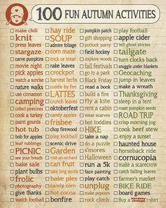 Autumn fun, bucket list, checklist, fun ideas for Fall, tailgate, jump in leaves, corn maze, carve pumpkins, haunted house...
