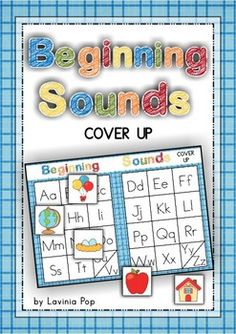 Beginning Sounds Game - Cover Up. A self-checking game: pictures cards have the word written on the back. Includes a recording book so kids can write the beginning sound, the word and also draw a picture of the word.
