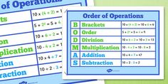 Order of Operations BODMAS Poster - A poster to support understanding in order of operations.