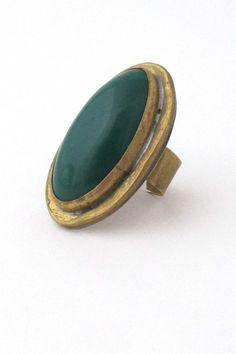 by: Rafael Alfandary, Canada materials: brass, glass size: face 1 x ring size 6 adjustable Vintage Rings, Vintage Jewelry, Green Rings, Jewelry Rings, Jewellery, Handcrafted Jewelry, Jewelry Crafts, Gemstone Rings, Jewelry Design