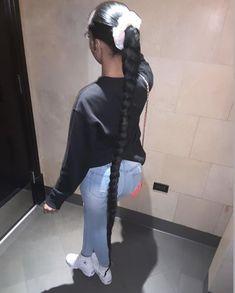 Baddie Hairstyles, Black Girls Hairstyles, Ponytail Hairstyles, Weave Hairstyles, Cute Hairstyles, Hair Ponytail Styles, Ponytail Bun, Chill Outfits, Dope Outfits