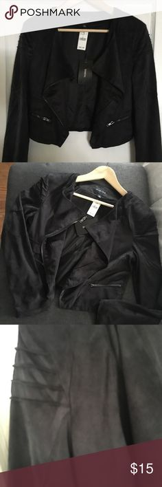 Moto Style Jacket Black Moto style zip up Jacket. Suede like material with two front pockets.  The jacket is very light, perfect for fall and spring. Jackets & Coats