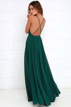 Dark Green Maxi Dress, Cheap Prom Dress, Chiffon