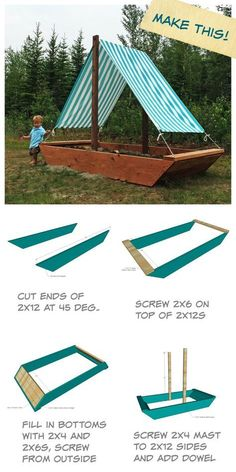 Ana White Build a Sail Boat or Ship Sandbox Free and Easy DIY Project and Furniture Plans - cute backyard project for toddler or kids! covered top sail for shade, covered sandbox Backyard Projects, Outdoor Projects, Easy Diy Projects, Backyard Ideas Kids, Backyard Toys For Kids, Outdoor Toys For Toddlers, Kids Yard, Kids Outdoor Play, Outdoor Play Spaces