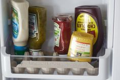 The Best Way to Organize Your Fridge Door. Side by side or not; this is one of those perfect hacks and ideas for refrigerator organization. You don't even need to head out to the dollar store for supplies; everything you need to organize your shelves is already in your fridge!