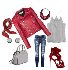 """""""Bet on Red"""" by rozane-bezuidenhout on Polyvore featuring Current/Elliott, Yves Saint Laurent, Giuseppe Zanotti, MICHAEL Michael Kors, Kenneth Jay Lane, Fairchild Baldwin and Valentino"""