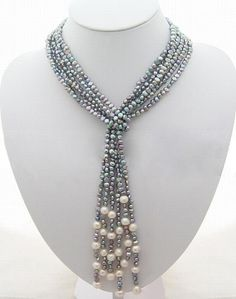 Bead Necklacepearl necklacebeaded jewelry  3 Strands by Arkpearl, $29.00