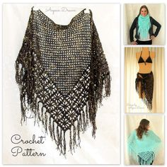http://www.awin1.com/cread.php?awinmid=6939&awinaffid=255809&clickref=pinCrochet&p=https%3A%2F%2Fwww.etsy.com%2Flisting%2F289859045%2Fcrochet-shawl-pattern-crochet-cover-up  Crochet Shawl Pattern, Crochet Cover Up Pattern, Crochet Fringe Scarf Pattern, Spider Stitch Shawl Pattern Crochet, Summer Crochet Pattern