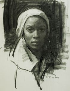 """""""Ebony"""" by Scott Burdick, charcoal and white chalk female portrait drawing, Drawing Faces, Life Drawing, Drawing Sketches, Painting & Drawing, Art Drawings, Pencil Drawings, Drawing Tips, Charcoal Portraits, Charcoal Art"""