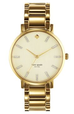 Free shipping and returns on kate spade new york 'gramercy' round bracelet watch, 38mm at Nordstrom.com. Clean lines define a classic round watch designed with slim indexes and a slender bezel for a distinctly feminine style. Mother-of-pearl beautifully illuminates the dial, while a linked bracelet offers a timeless finish.