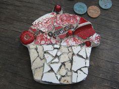 YUMMY mosaic cupcake in reds mosaic art.
