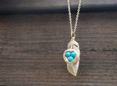 Gold Bird Nest With Feather Long Necklace Turquoise by YQYJewelry, $38.00