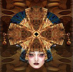 "CompassCross Geisha Masque - 16"" x 16"" Digital Painting by ©E.Trostli"