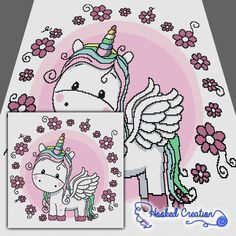 Flower Unicorn SC Throw Blanket Crochet Pattern - PDF Download