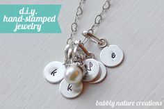 D.I.Y. Hand-stamped Jewelry! - Would look so cute with initials for kids.