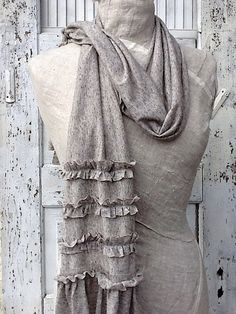 Rustic Ruffled French Cotton Knit Scarf  Raw by CamillaCotton, $27.00