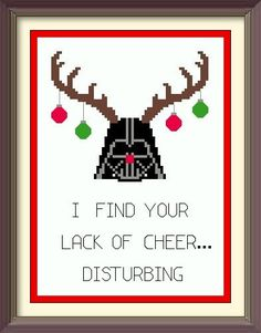 Holiday Spirit Darth Vader Star Wars Cross di DuctTapeStitches