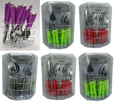 24 Piece Coloured Stylish Stainless Steel Cutlery Set Tableware Dining Utensils