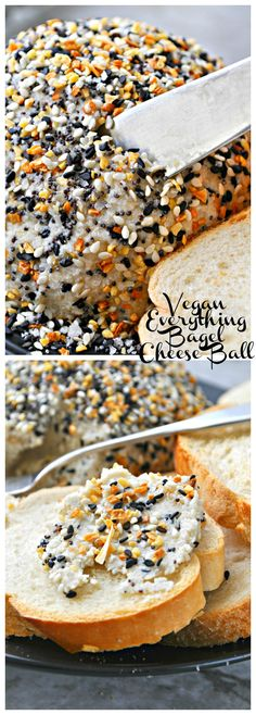 Delicious and simple cashew based cheese ball made even more delicious with the addition of everything bagel spice mixed in and coating it!