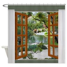 Glimpse Of Tranquility Garden Shower Curtain on CafePress.com