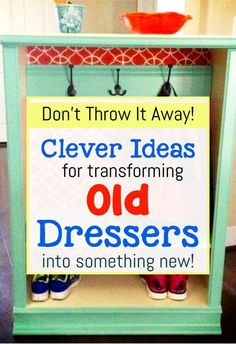 Cheap Thrift Store Finds or Old Junk Furniture - Easy DIY ideas for repurposing old dressers without drawers into new and useful furniture ideas furniture How To Repurpose a Dresser Without Drawers - Easy DIY Repurposed Furniture Makeover Ideas Old Dresser Drawers, Old Dressers, Diy Drawers, Upcycled Crafts, Recycled Decor, Diy Crafts, Diy Interior, Diy Dresser Makeover, Dresser Makeovers