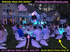 Bestest Backyard Wedding Ideas are Spectacular! We do all the work! Draping the backyard with colored Downlighting is Amazing! Our Light Up LED table & LED Bar rentals are Beautiful! No more String or Market Lights! 14' tall Truss' with powerful LED lighting rentals are beyond description! Legless  Chair Rentals don't sink in the ground! Event Lounge Furniture. 6' tall Light up Chandelier Centerpieces. White Dance Floors. In Orlando Party & Wedding rentals decorate all of Florida… Led Furniture, Lounge Furniture, Uv Black Light, Light Up, Glow Table, Chandelier Centerpiece, Disco Theme, Prom Decor, Glow Party