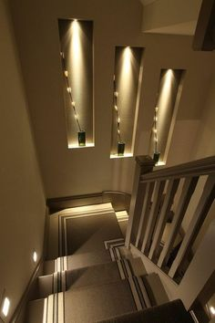 Browse a lot of photos of Stairway Lighting. Find ideas and inspiration for Stairway Lighting to add to your own home. Home Stairs Design, Home Room Design, Modern House Design, Home Interior Design, Living Room Designs, Interior Decorating, Stairway Decorating, Stairs Light Design, Interior Shop