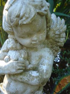 Large Vintage Winged Cherub Angel with Bunny Garden Statue Weathered Stone Mix Chippy White Paint