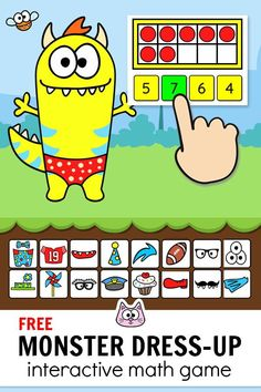 Practice counting to 10 with ten frames using this engaging FREE Monster Dress-Up game! This fun game for kids works with any device including iPads, . Smart Board Activities, Math Board Games, Alphabet Activities, Cat Games, Smart Board Lessons, Kindergarten Math Games, Classroom Activities, Preschool, Literacy Games
