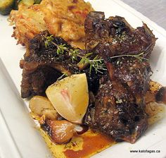 Slow-Roasted Goat With Scalloped Potatoes and Brussel Sprouts Roasted Goat Recipe, Chops Recipe, Goat Recipes, Greek Recipes, Cooking Recipes, Chili Recipes, Cheese Recipes, Gourmet, French Tips