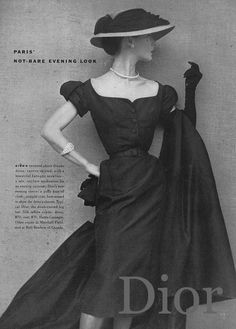 From Vogue, April 1951. Photo by Henry Clarke. Dior's short dinner dress, narrow- skirted and with a beautiful baroque neckline.