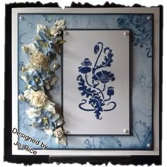 Bingo board...Flowers, Pearls and Blue...