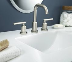 Moen 84229SRN Spot Resist Brushed Nickel Widespread Bathroom Faucet with Pop-Up Drain Assembly from the Gibson Collection - FaucetDirect.com