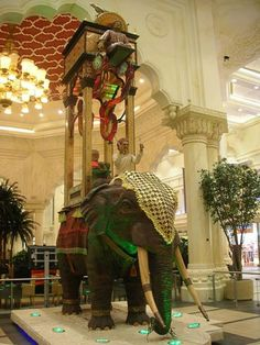 """Al Jazari's famous elephant water clock. Rebuilt from 13th C. from the """"Book of knowledge of ingenious mechanical devices"""" . Dubai Mall"""