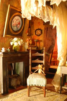 NINETTE & CO. Dollhouse miniature bedroom, fireplace, painting, chair, doll.