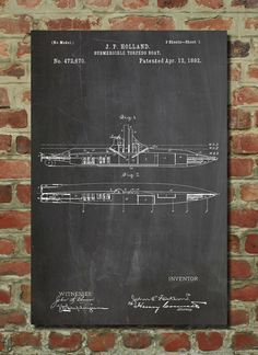Affiche de brevets sous-marins Holland, Art nautique, pépinière sous-marine, US Marine cadeau Art sous-marine, Decor de salle de bains, PP91