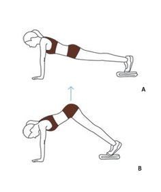 Sliding Pike- Begin in a plank on an uncarpeted floor, hands under shoulders and a towel under feet(A). With legs straight, raise hips and draw legs toward hands into a pike position—your feet should slide easily. Hold for one count, then return to start. Repeat 10 times. #core #workout
