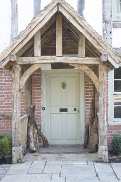 House Exterior Before And After Porch Addition Porticos Ideas Cottage Front Doors, Front Door Porch, Cottage Door, Front Door Entrance, Cottage Exterior, Front Entrances, House Entrance, Porch Oak, Porch Wooden